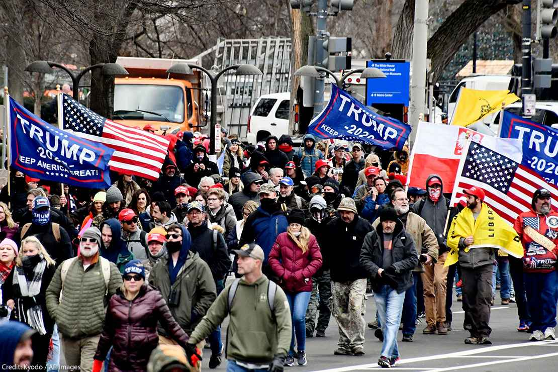 A mob loyal to U.S. President Donald Trump marches toward the U.S. Capitol in Washington on Jan. 6, 2021.