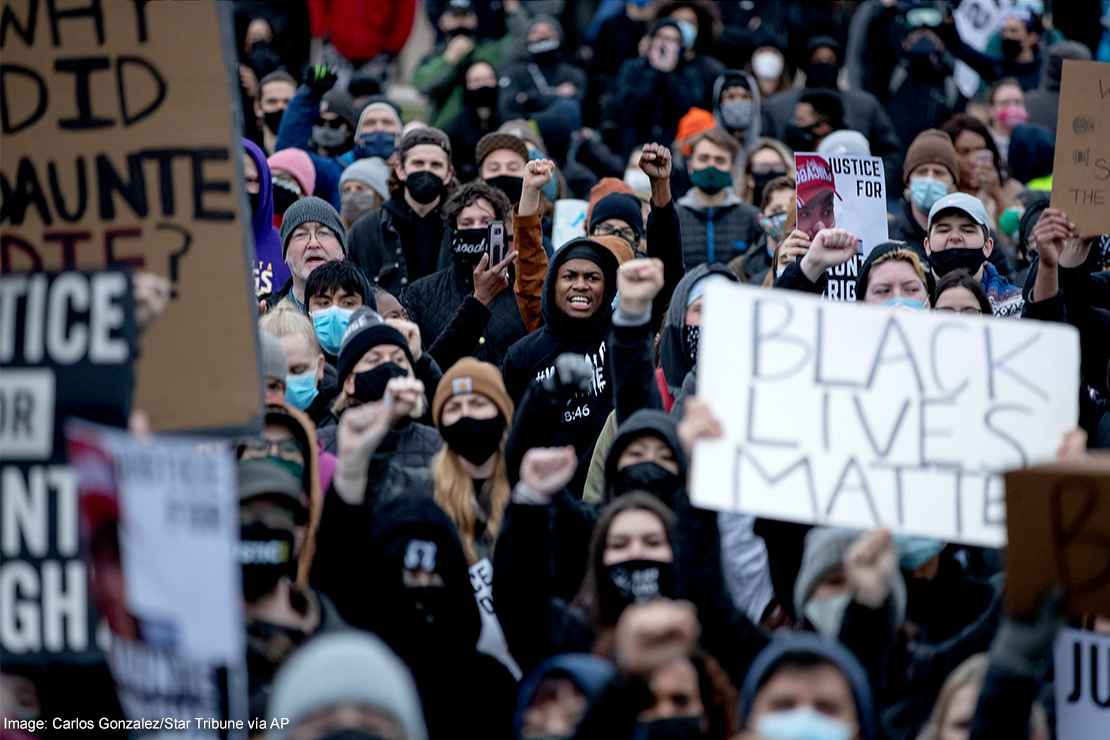 Protestors demonstrate in Brooklyn Center, Minnesota after the shooting death of Daunte Wright.