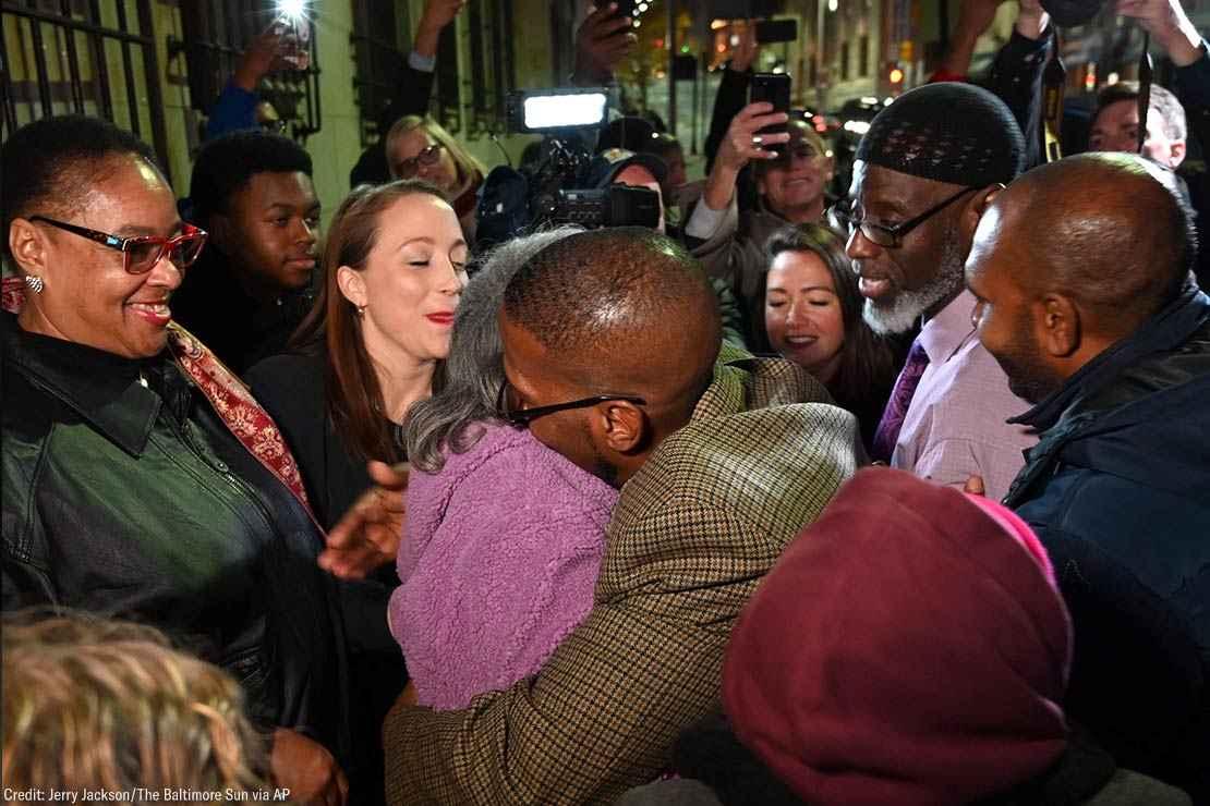 Prisoner Alfred Chestnut hugs his mother Sarah after his release Monday, Nov. 25, 2019, in Baltimore.