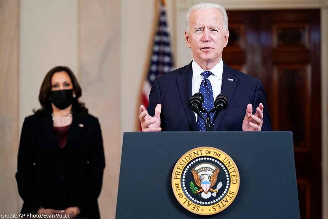 President Joe Biden, accompanied by Vice President Kamala Harris, speaks Tuesday, April 20, 2021, at the White House in Washington, DC
